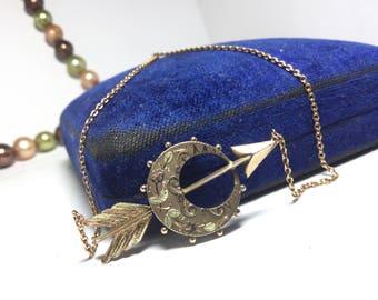 Reserved: 9ct Gold Victorian Arrow Necklace Mulit Color Gold - Antique Conversion Necklace -