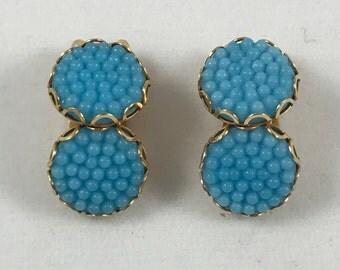 Vintage Blue Dandelion Style Clip On Earrings