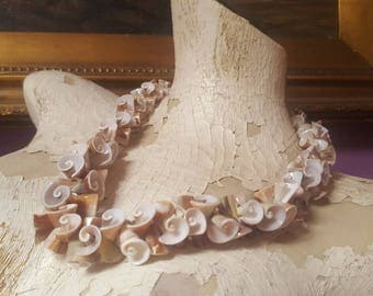 Vintage curled sliced SEASHELL NECKLACE