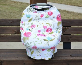 Stretchy Car Seat Cover, Floral Stretchy Car Seat Cover, Stretchy Nursing Cover