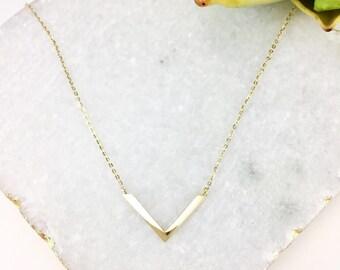 14K solid gold V bar necklace trendy V pendant necklace VB-N1001