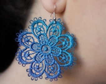 Teal and blue floral lace earrings.