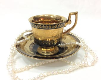 Gold & Black Demitasse, Cup and Saucer, Etched Gold, Arnart Royal Vienna Demitasse, Bone China, Vintage Porcelain Tea Cup