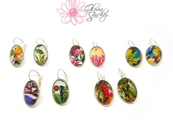 Black friday sale, Cyber monday sale, Gardening earrings, Botanical earrings, one of a kind, Floral earrings, Illustrated earrings
