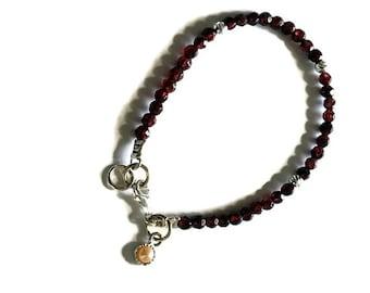 Garnet bracelet, Red Garnet bracelet, january birthstone bracelet, Silver charm bracelet, Beads bracelet, Silver beads bracelet, Pearl charm