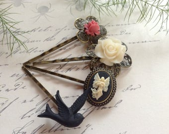 Hair Clips Black Bird, Angel And Pink Floral Bobby Pins