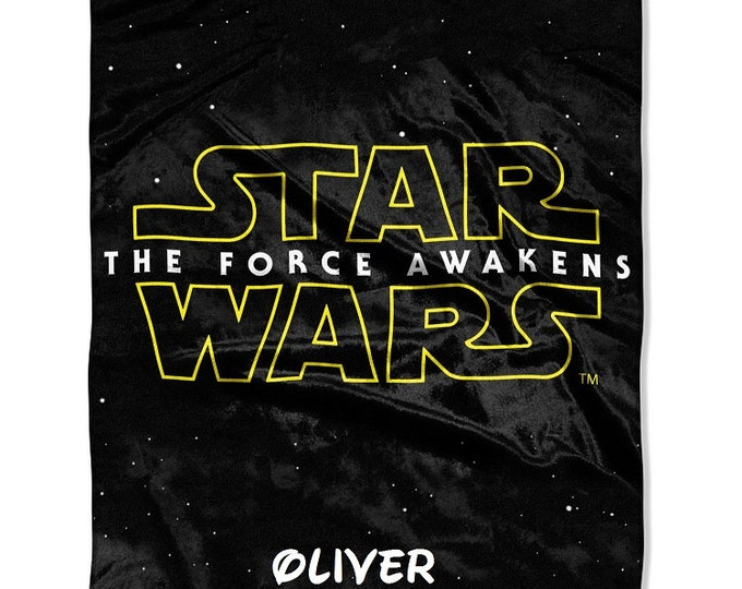 "Star Wars The Force Awakens LOGO Micro Raschel 40"" x 50"" Silk Touch Throw Blanket - Personalized"