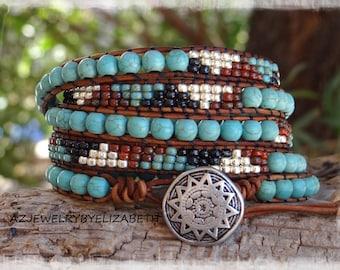 Beaded Leather Wrap/ Turquoise Leather Wrap Bracelet/ Seed Bead Leather Wrap Bracelet/ Turquoise Leather Bracelet.