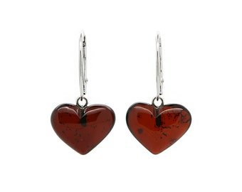 Amber Heart Earrings - Heart Earrings - Dangle Heart Earrings - Valentine's Day Gift - Cherry Amber Earrings - Amber Jewelry -DO-276ch