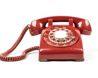 Meticulously Refurbished & Restored Vintage Rotary Dial Phone in perfect working condition - Dark Cherry Red