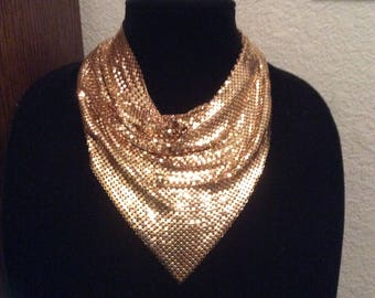 Gold Tone Metal Mesh Scarf Bib Necklace