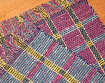 Reversible Loom Woven Rag Rug Runner, Kitchen Rag Rug, Rep Weave Rug, Cottage Rug, Modern Design Woven Rug, Couch Rag Rug, Chindi Rug