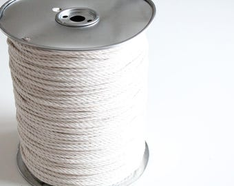 Cotton rope macrame 3mm 3 strand unbleached cotton - 100 feets / 33 yards