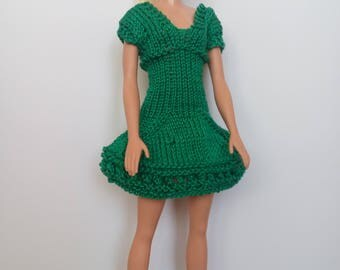 Knitted handmade dress for Barbie, green, doll dress, Barbie fashion Clothes
