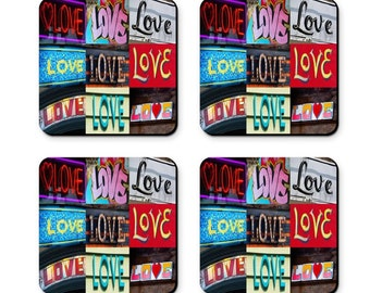 Personalized Coasters featuring the word LOVE in photos of actual signs; Coaster set; Valentine's Day gift; Wedding gift; Cool coasters