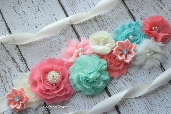 Maternity sash belt, aqua ivory and coral Sash , sash,  flower Belt, maternity sash, baby shower gift