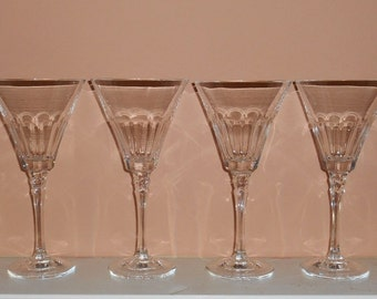 Set of 4 Vintage Towle Crystal REFLECTIONS Cut Glass Wine Goblets Glasses