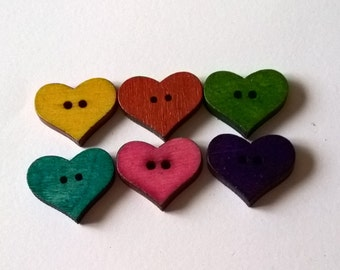 A Pack Of 25 Rustic Wooden Heart Buttons