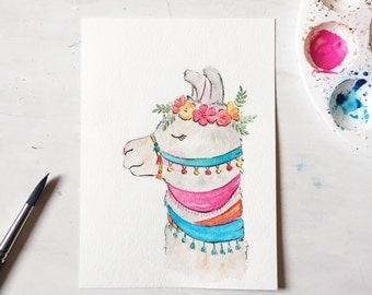 Llama watercolor - llama nursery - llama art - whimsical nursery art - alpaca art - Peruvian llama