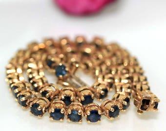 Estate 14k yellow gold natural round Dark Blue Sapphire Tennis Bracelet