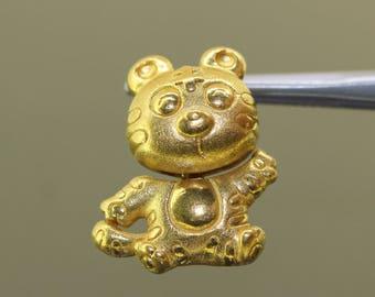 Estate 24k 999 solid yellow gold Movable Dangling Panda Pendant charm 5.2gr