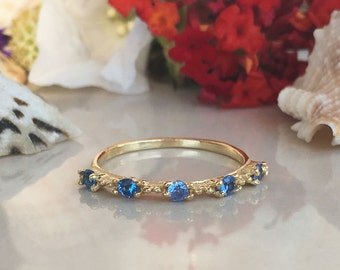20% off-SALE!! Blue Topaz Ring - December Birthstone -Topaz Jewelry - Gold Ring - Dainty Ring - Tiny Ring - Gemstone Ring