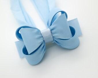 Light Blue Baby Bow Headband, Blue Baby Headband, Bow Headband, Newborn Headband, Baby Girl Headband, Photography Prop, Nylon Headband, 1431
