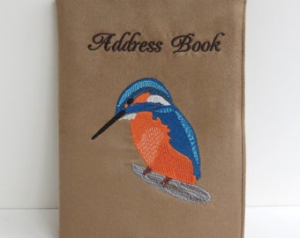Fabric Covered Address Book with Kingfisher Embroidery and A5 Address Book, Telephone Book