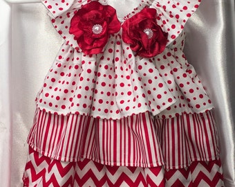 Absolutely adorable newborn-3m Red polka dot/strips/zigzag and flower pattern,baby shower gift.