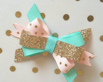 Aqua Pink Gold Bow, Glitter Sparkle Itty Bitty bow, 1st birthday, Baby bow, Pink Gold Tea Party, Carousel, half birthday Princess Donut clip