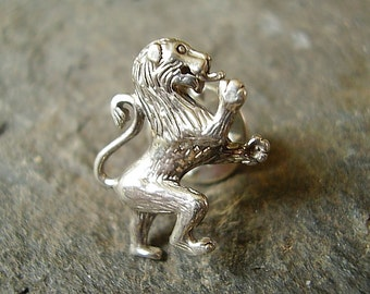 Scottish Rampant Lion Sterling Silver Tie Pin - Lapel Badge