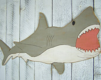 Great White Shark Wooden Shark Wall Art Shark Week Shark Decor Kids Room Nursery Shark Room Decor Shark Birthday Wood Shark Wall Decor