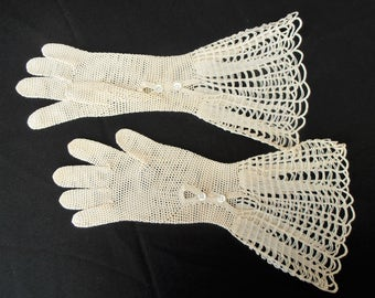 Vintage Cotton Crochet Gloves. Eleegant Long Gloves