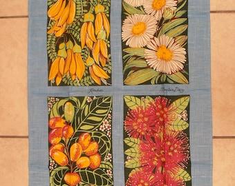 Vintage Linen Tea Towel.  Save The Children. Native Plants of New Zealand