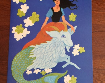 Retro Capricorn Birthday Card With Poem Inside For Girl or Boy With Envelope 1967 Unused Groovy Zodiac Astrology Star Sign