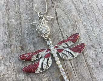 DRAGONFLY Christmas Ornaments | Rhinestone Christmas Ornament | Dragonfly Ornament | Dragonfly Home Decor | Baubles and By Gones