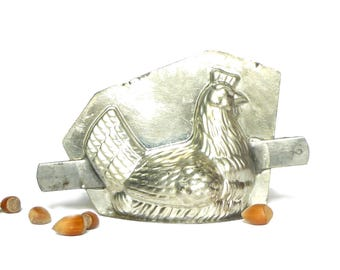 Metal vintage 1960's Easter Chocolate hen mold - old mold candy two parts - Decoration of kitchen collection
