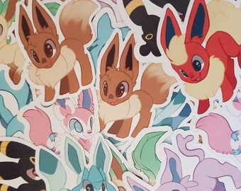 Pokemon Eeveelution Stickers Flareon Jolteon Eeeve Vaporeon Espeon Umbreon Glaceon Leafeon and Slyveon Geek Gift Nerd Video Game