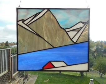 Stained Glass-Cabin in the Mountains Panel