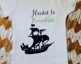 Peter Pan Headed to neverland infant bodysuit,peter pan onesie,peter pan shirt,neverland onesie,tinkerbell onesie,tinkerbell kids shirt