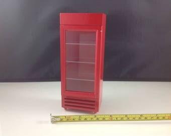 Dollhouse Miniature Store Market Restaurant Home Red Wood Refrigerator 1:12
