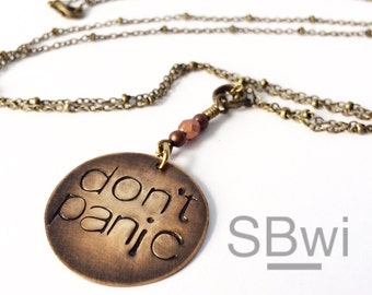 Don't Panic necklace in bronze with swarovski birthstone necklace