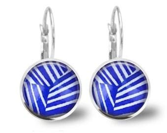 Blue Geo Lever Back Glass Earrings