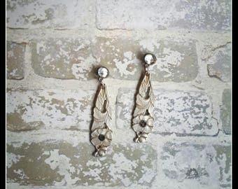 Handmade OOAK silver spoon stud dangle flowers earrings with Swarovski crystals