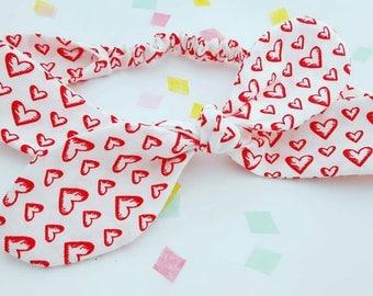 Heart baby headband, love heart headband, red heart bow, girls gift idea,  mum and me set, love hair band, red heart top knot