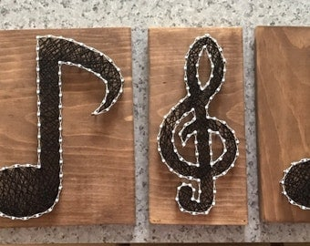 Set of 4 Music Notes String Art | Music Notes String Art