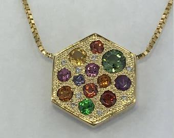 14k Gold-Diamonds, Garnets & Sapphires Engraved Necklace