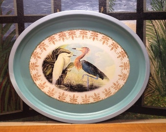 "Metal Tole Tray, 24"" Vintage Peinte Oval Audubon Birds in Distressed Brown, Aqua & Green, French Country Farmhouse, Upcycled Decor"
