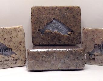 Fisherman Soap, All Natural Soap Bar,, Artisan Vegan Soap, Exfoliating Soap Bar, Gift for Him, Handmade Soap,, Fish Soap, Essential Oil Soap