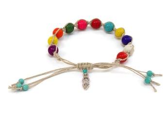 Multi howlite goddess charm bracelet, hemp bracelet, arm jewelry, braided bracelet, colorful jewelry, bohemian, gypsy, hippie